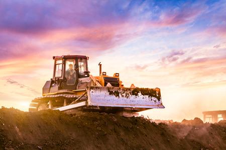 Bulldozer in the building site