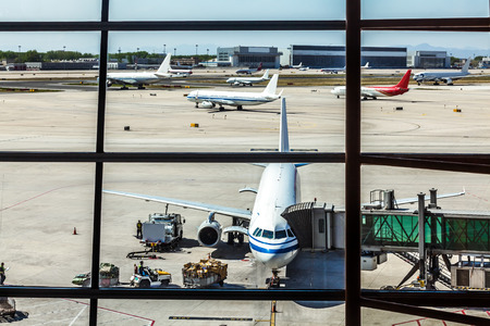 ground: Airlines plane prepares for passengers to board