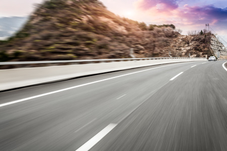 motion blur: motion blur of the highway road