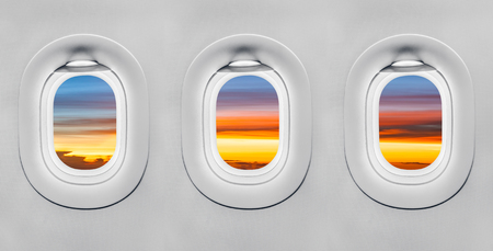 Sunset at airplane window