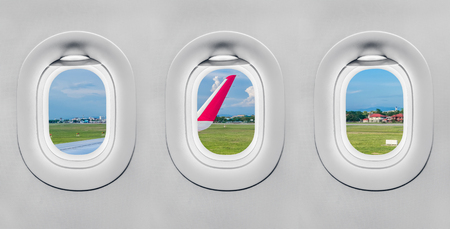 The window of airplane Stock Photo