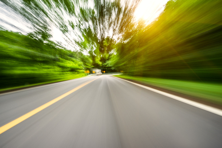 Motion blurred highway Stock Photo