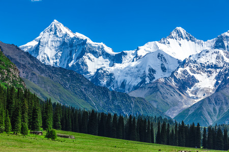snow mountains in Xinjiang Stock Photo