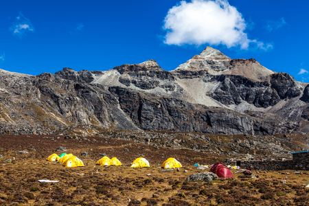 camping at mountains in Himalaya of Tibet Stock Photo