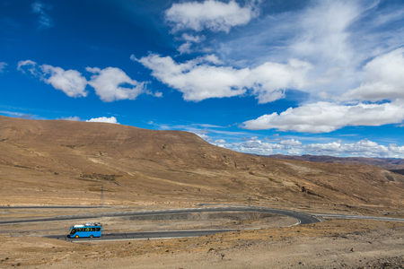 bus in the mountain of Tibet Фото со стока
