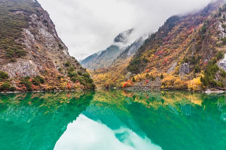 mountain and lake in fall in China