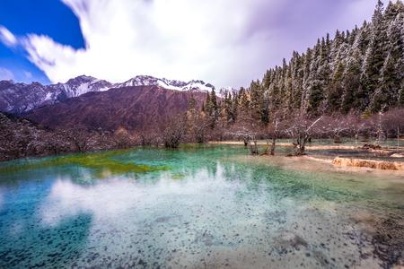 Huang Long scenic in Sichuan China Reklamní fotografie - 123024736