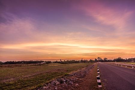 road under sunset in Thailand