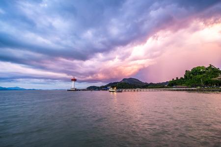 beautiful sunset on sea in Thailand