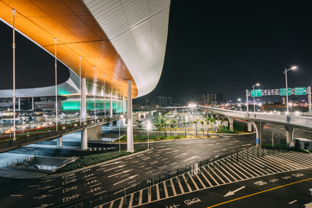 road in airport at night Redakční