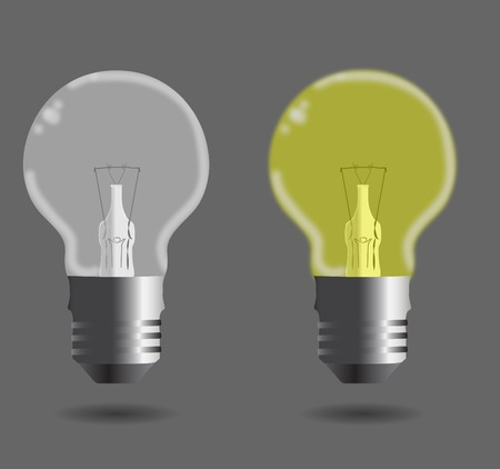 metal light bulb icon: Set of glass bulb lighted and unlighted. Illustration