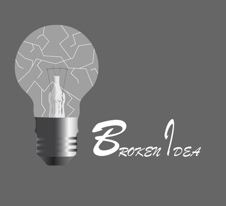 unsuccess: Broken idea. Broken light bulb on black background. Vector illustration