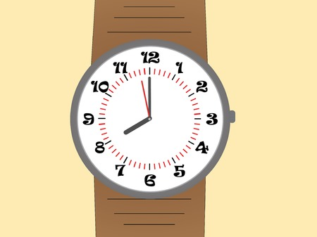 wrist strap: Wrist Watch with brown leather strap, Vector illustration