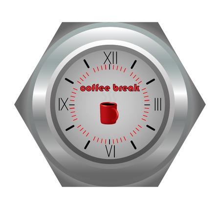 coffe break: Coffe break, clock and pause. Vector illustration Illustration