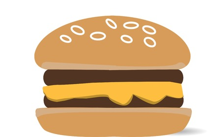 delectable: Cheeseburger isolated on white. Vector and illustration