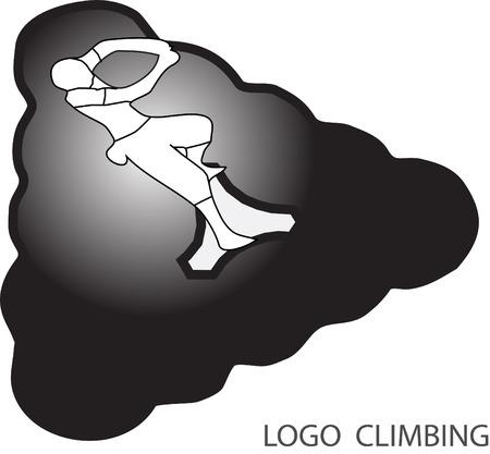 brand activity: Rock climbing icon. Man climb on abstract element. Vector illustration Illustration