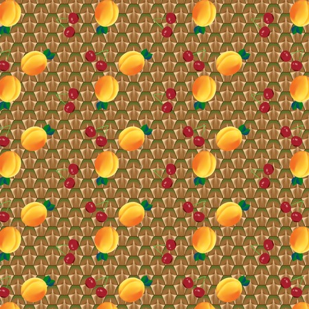 Seamless fruit background. Cherry and apricot and pattern. Vector illustration Vector