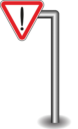 interjection: Sign exclamation mark in red triangle on the stick. Vector illustration Illustration