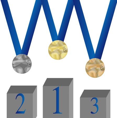 silver medal: Set of medal. Bronze, silver and gold  hang on blue ribbon. Pedestal. Vector illustration