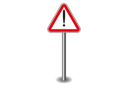 Sign exclamation mark in red triangle on the stick. Vector illustration Vector