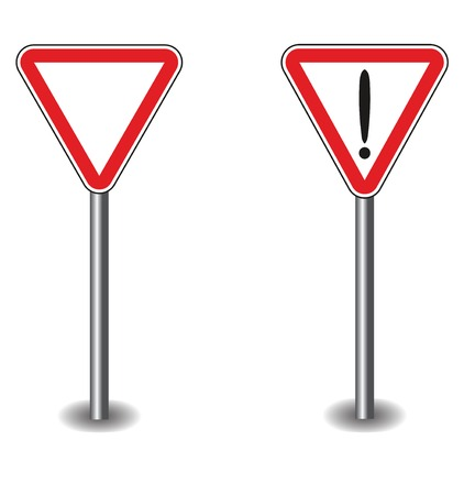 interjection: Sign exclamation mark and empty in red triangle. Vector illustration Illustration