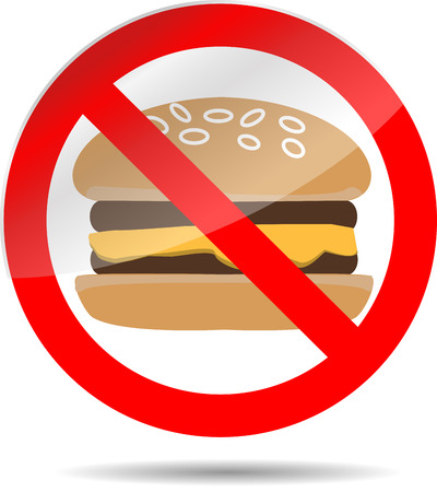 Ban fast food. cheeseburger and sandwich, lunch stop. Vector illustration