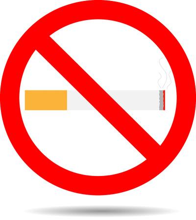 pernicious: No Fumar. Advertencia de cigarrillos y el s�mbolo prohibido, ilustraci�n vectorial