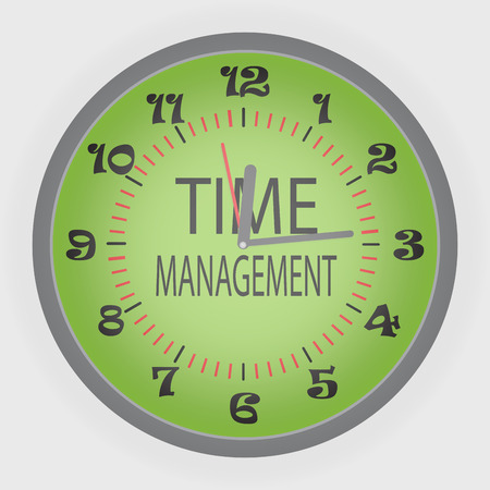 Time managment. Green clock, business and solution, strategy and schedule and deadline, vector illustration