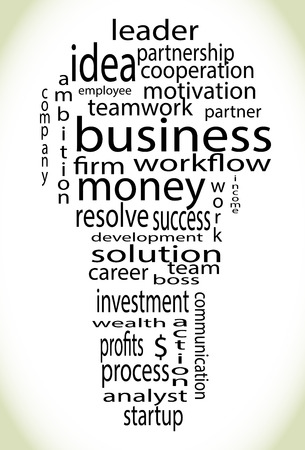 product innovation: Wordcloud business lightbulb. Process think innovate bulb idea success solution innovation tag