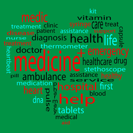 heart disease: Form heart medicine tag. Medical and disease, analysis and treatment and clinic. Vector illustration
