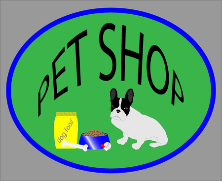 Pet shop emblem. Food bowl, capsules  tablets, french bulldog, vitamins and package and bone. Vector illustration Vector