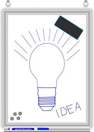 light classroom: White board. Business education empty blank idea and picture lightbulb and light empty vector illustration Illustration