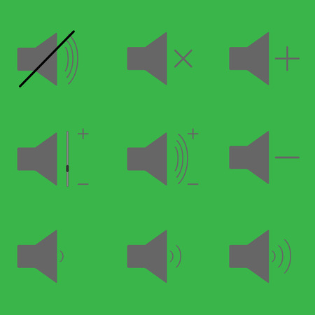quieter: Set sound icons. Volume and sound audio and loudspeaker music and voice vector illustration