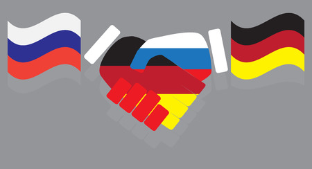 partnership: Friendship between Russia and Germany. Partnership and support, relationship and contract. Vector illustration