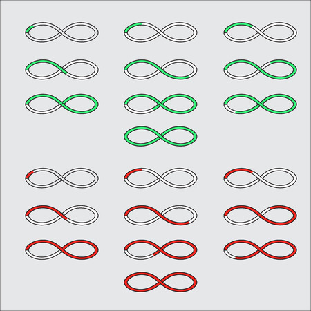 indication: Progress bars in the form of a symbol of infinity. Upload and downloading step indication. Vector illustration Stock Photo