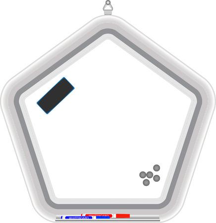 pentagonal: Pentagonal whiteboard. Office object, presentation and  write, vector illustration