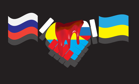 betrayal: Betrayal friendship in Russia and Ukraine. War and red blood, conflict and confrontation, propaganda military, fratricide and lies. Vector illustration Stock Photo