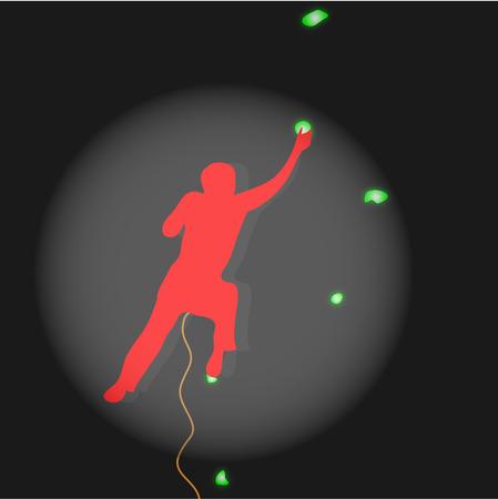 competitions: Competiciones de escalada escalador iluminados centro de atenci�n. Deporte extremo, monta�a y el rock, el equipo de la cuerda, el desempe�o deportista, sostienen piedra. Ilustraci�n vectorial Vectores