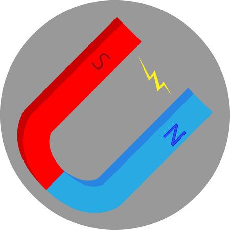 magnetismo: Magnet icona piatta. Magnetica e magnetismo, ottenere il potere, a ferro di cavallo e attrazione, sud e nord. Grafica vettoriale illustrazione