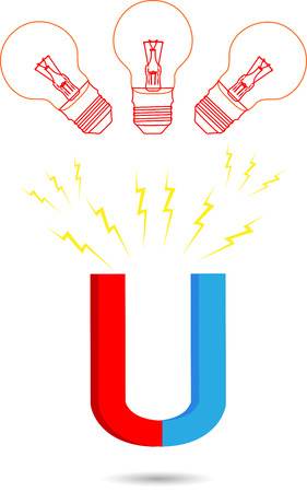 direction magnet: Magnet idea. Power bulb, attraction and horseshoe, magnetize and growth, vector graphic illustration Illustration