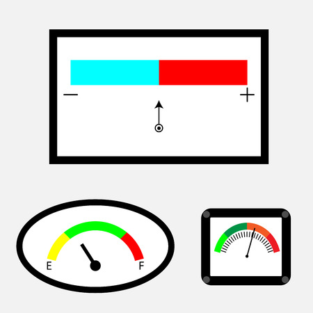 indicator panel: Set of indicators with colored spectral indicator. Measurement and pointer,  panel control, vector graphic illustration Illustration
