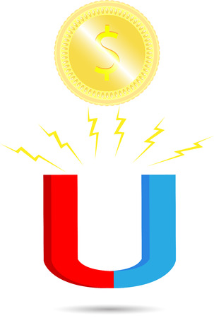 attract: Magnet coin. Money finance business, attract success and dollar. Vector graphic illustration Illustration