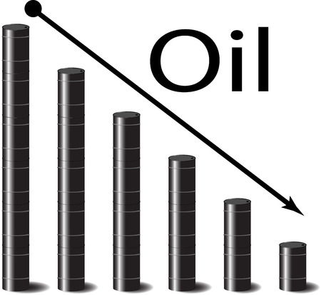 barell: Oil falls in price. Petrol down, gasoline and arrow, energy industry, price graph and chart, barrel crisis, black gold. Vector graphic illustration