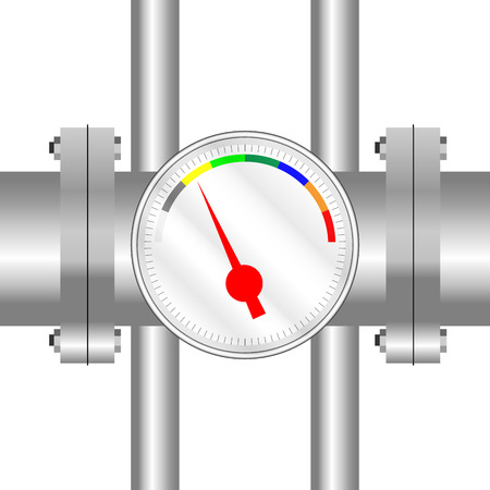 compression: Spectral sensor on the tube. Measurement and pointer, panel control, vector graphic illustration Illustration