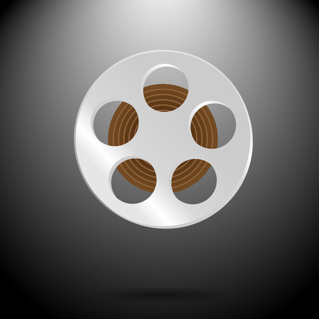 cinematography: Spool of film. Video and entertainment, camera and filmstrip, cinematography industry, vector graphic illustration Illustration