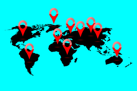 locate: World map location. Continent locate and gps position, pointer navigation, marker and planet, vector graphic illustration