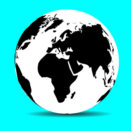 meridian: Globe map earth, continent and ocean, planet and land, sphere global, vector graphic illustration