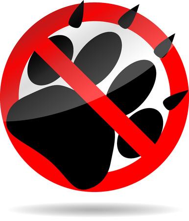 Ban foot print animal. Pet paw, print dog, wildlife cat or tiger, vector graphic illustration  イラスト・ベクター素材