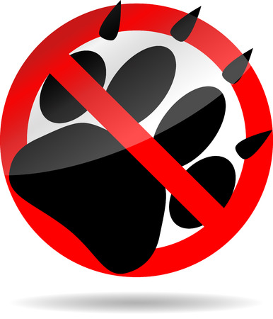 Ban foot print animal. Pet paw, print dog, wildlife cat or tiger, vector graphic illustration Vector