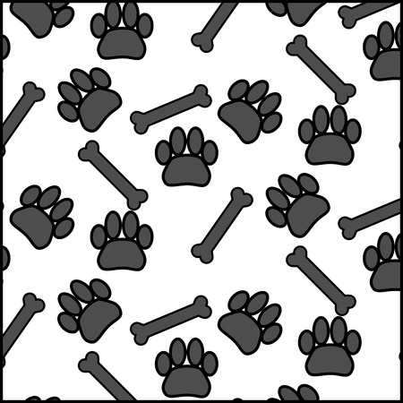 scamper: Seamless patter foot print dog and bone. Eat and meal, track footprint animal background, vector graphic illustration